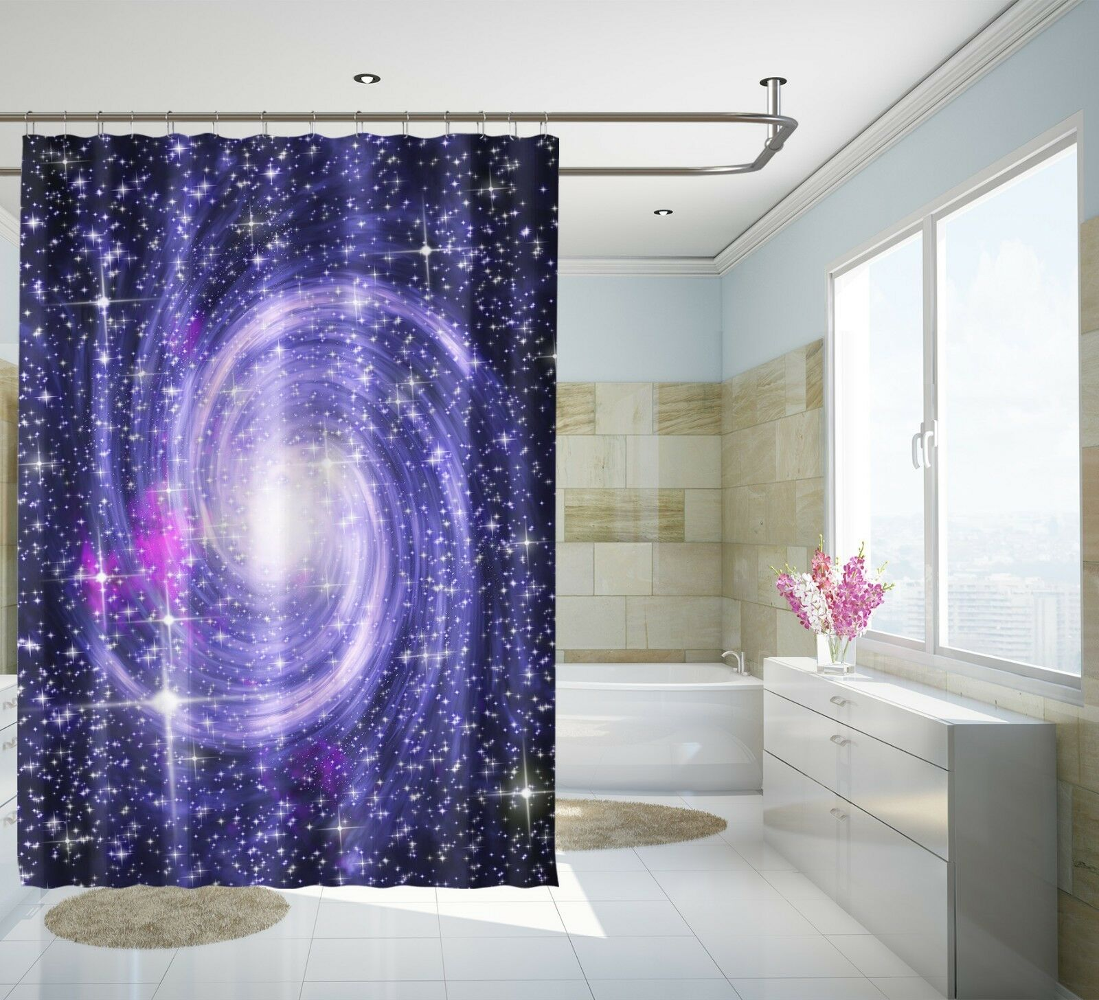 3D lila Swirl 46 Shower Curtain Waterproof Fiber Bathroom Home Windows Toilet