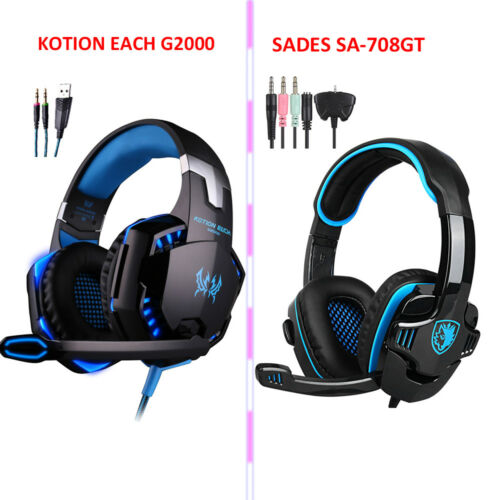 SADESEACH G2000 Gaming Headphone Stereo Overear Mic Headset for PC PS4 Xbox