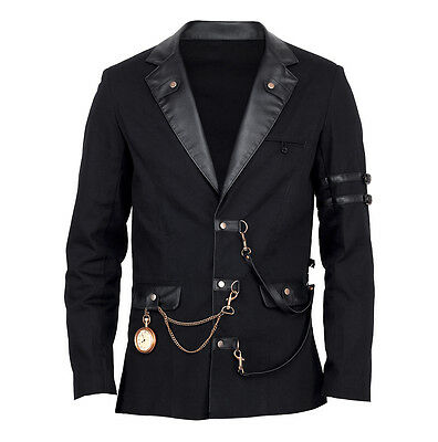Vintage Goth Steampunk Jacke Herren schwarz Gothic black jacket Militär VG16438