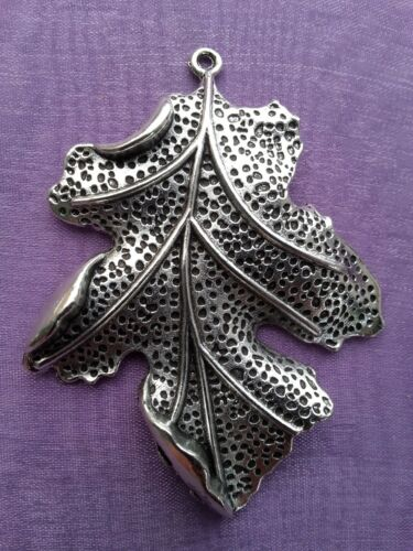 2 x VERY LARGE 3D OAK LEAF Tibetan Silver 67mm  Charm Pendant Pagan Wiccan