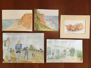 Lot of 5 Watercolor Paintings - Landscape Figure Still Life Estate Find Signed