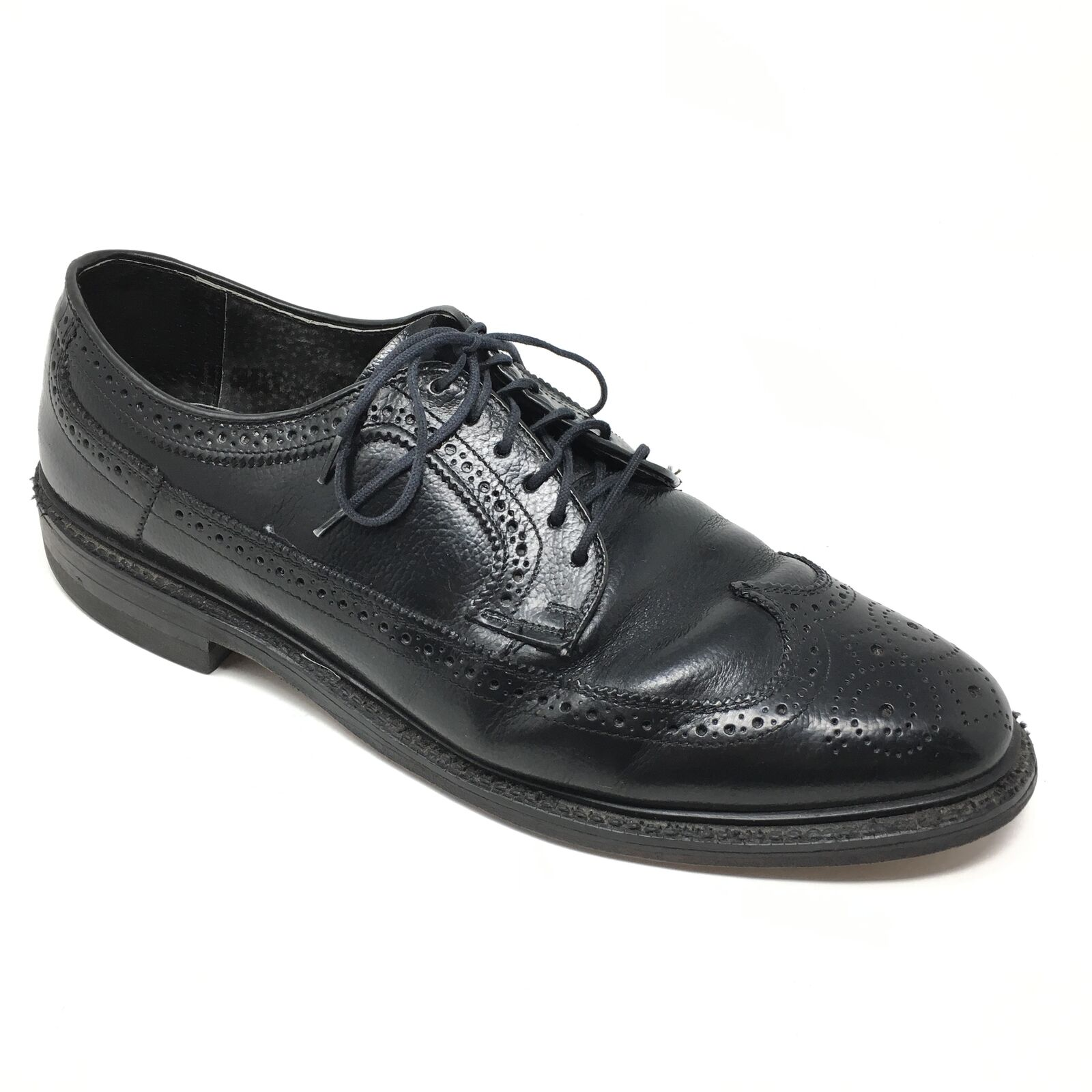 Men's Hanover 3365 Oxfords Dress shoes Size 10.5D Black Wingtip Brogue Grain W14