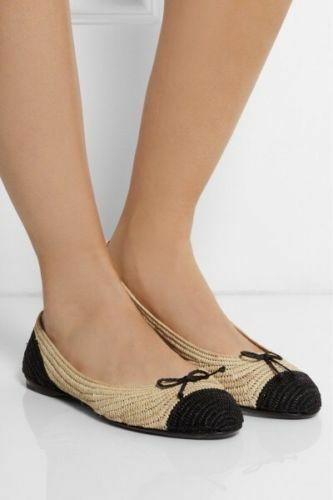 NEW AUTHENTIC BOTTEGA VENETA TWO-TONE RAFFIA BALLET FLATS. 37.5EU 600