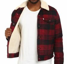 Levi's Wool Blend Sherpa Lined Tibetan Buffalo Plaid Trucker Jacket Men's Coat
