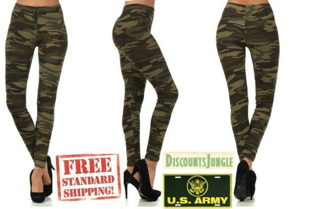 NEW Womens Leggings Size Large Soft Stretch Pants Ladies Casual Camouflage