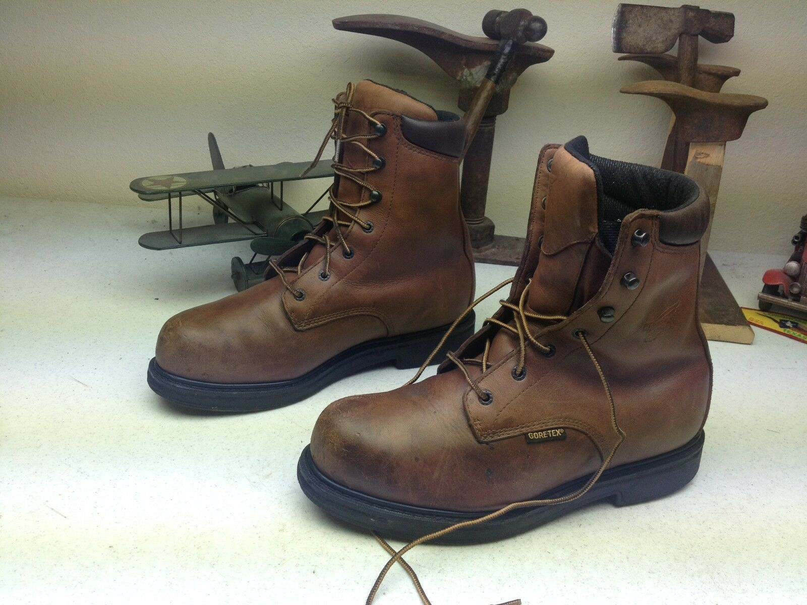 DISTRESSED  RED WING BROWN LEATHER LACE UP ENGINEER WORK FARM BOOTS 10.5 EE