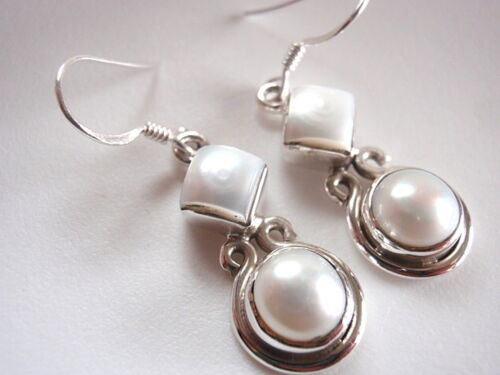 Cultured Pearl Circle and Square Double-Gem 925 Sterling Silver Dangle Earrings