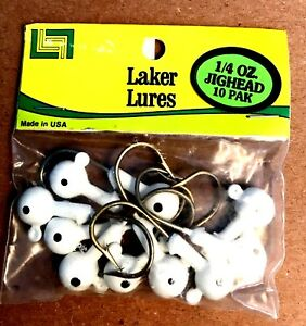 Laker-Lures-White-1-4-oz-Jig-Heads-for-Fishing-with-Bait-or-Plastics-10-pack