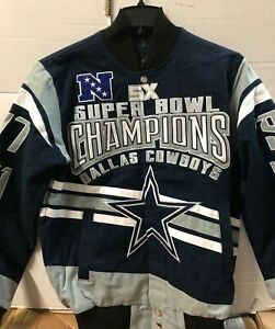 pretty nice 9cbf8 1cfe5 Dallas Cowboys 5 Time Super Bowl Embroidered Jacket Cotton Twill Men's XL  Navy