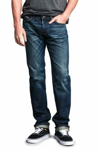 Men/'s Made in USA Straight Fit  Denim Premium Selvedge Jeans Pants M527SV-B1D7