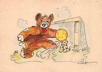AK Bär mit Hunt Fussball Künstlerkarte Verlag Wolfsburg 1950