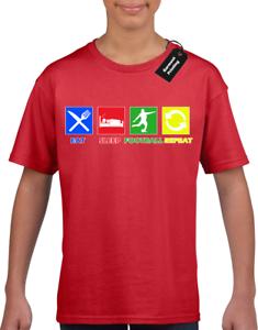 Eat-Sleep-Football-Repeat-Enfants-garcons-filles-T-shirt-Top-Player-Fan-Angleterre-col