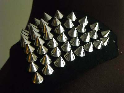 1 Pair of shoulder patch trims, black with silver studs / spikes