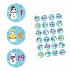 24-Adventskalender-Zahlen-Aufkleber-Schneemann-rund-4-cm-Sticker-Weihnacht