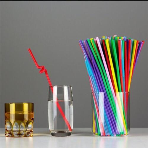 100Pc Flexible Souple Long Boisson Jetables Plastique Pailles Cocktail Ke