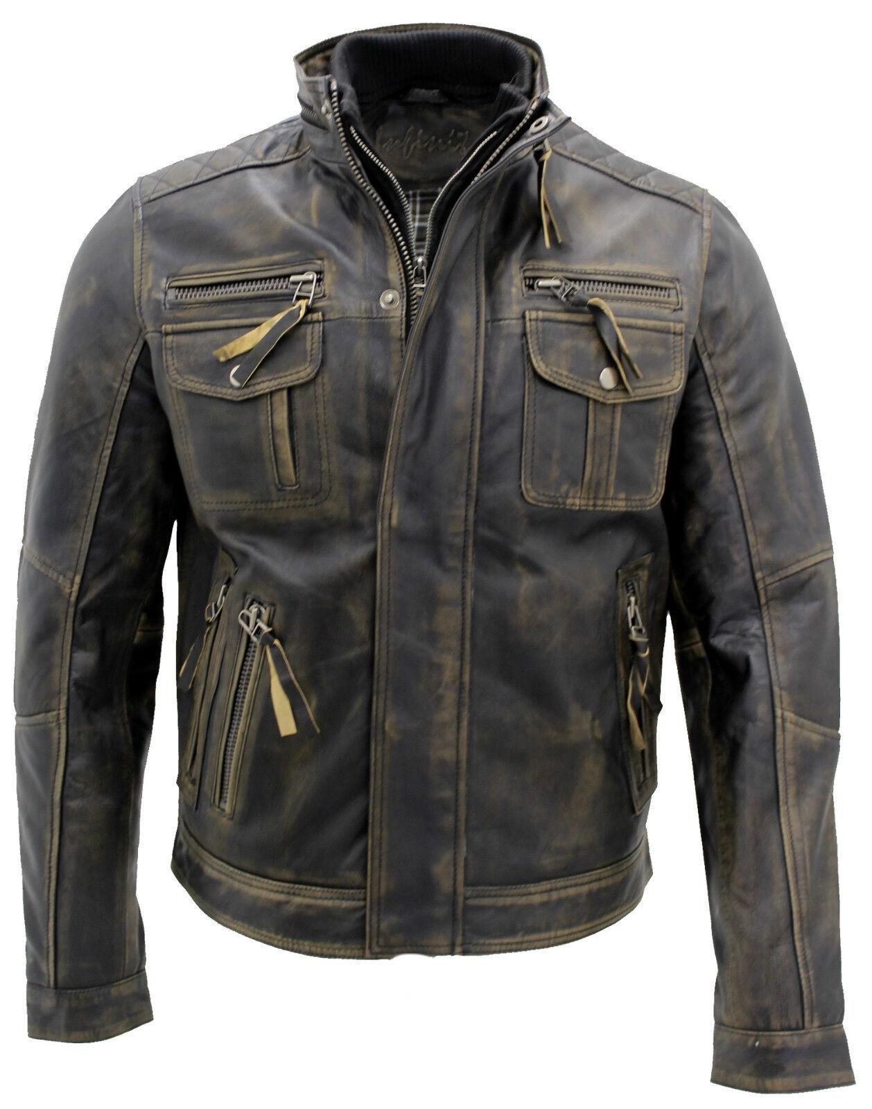 Noir Motard Homme Cuir Veste Rétro 100 Vintage Chaude 5w0xArqg0