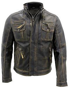 Hombre-Vintage-Caliente-Negro-100-cuero-chaqueta-estilo-retro-con-efecto-envejecido-Motocicleta