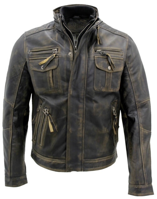 ddaa5ad8a013 Men s Vintage Black Warm 100% Leather Retro Biker Jacket Distressed  Motorcycle