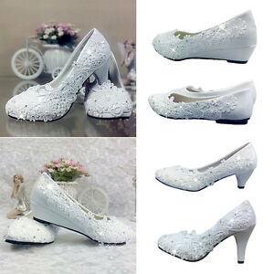 Elegent Women White Crystal Lace Wedding High Heel Shoes Bridal Flats Low Pump