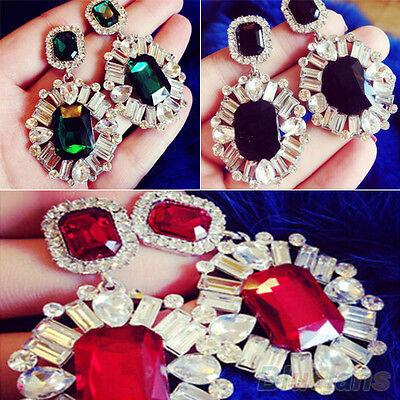 Womens 1 Pair New Come Rhinestone Crystal Nice Flower Dangle Round Stud Earrings