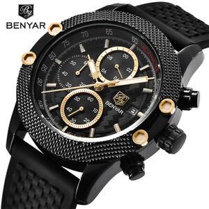 BENYAR-Sport-Chronograph-Watch-Men-039-s-Quartz-Wrist-Watches-Steel-Rubber-Strap
