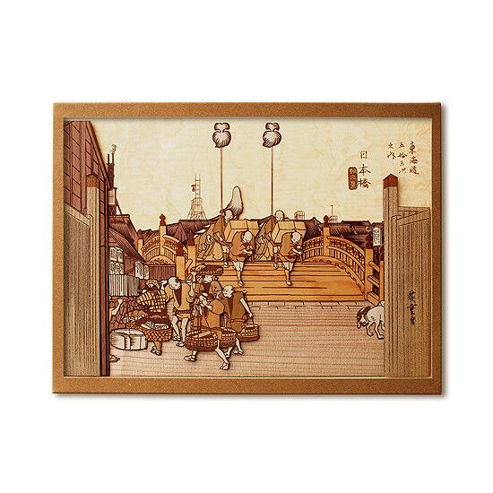 Japanese Wood Collage 3D-Art Handmade Kit Ukiyoe Hiroshige Tokaido Part1 30x21cm