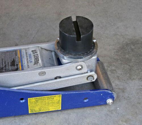 2Pcs Black Slotted Frame Rail Floor Jack Guard Adapter Lift Rubber Pad Universal