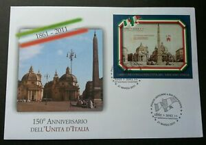 [SJ] Vatican - Italy Joint Issue 150th Anniversary Of Italy Unity 2011 (ms FDC)