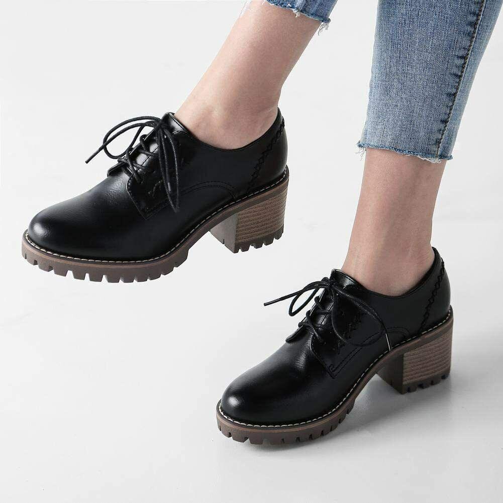 Sale NEW Women's Casual Retro Comfort Block Heel Oxfords BLACK EU37 UK size 4