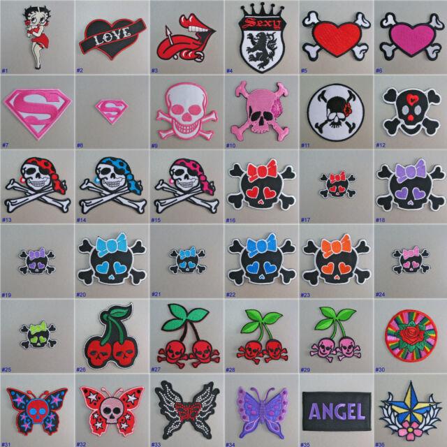 Girls Iron On / Sew On Cloth Patch Badge Appliqué motif goth emo punk rock chick