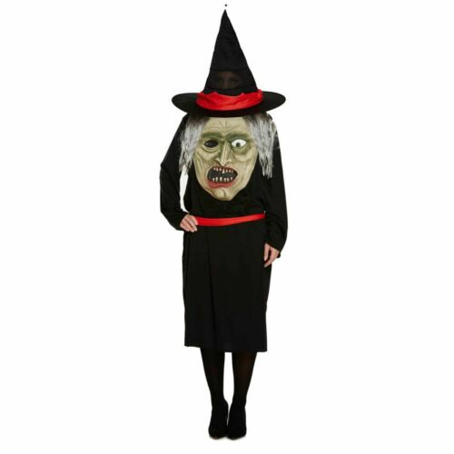 Donna Strega con Jumbo Face Costume Donna Halloween Completo fantasia Party Dress