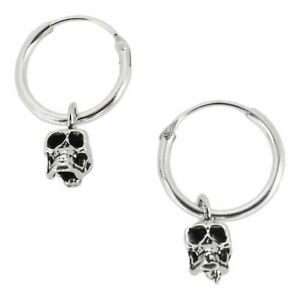 8c93fdc2b5c5b Details about Sterling Silver 12mm Hoop Earrings with Dangling Skull -  Pirate Hoops Sleepers