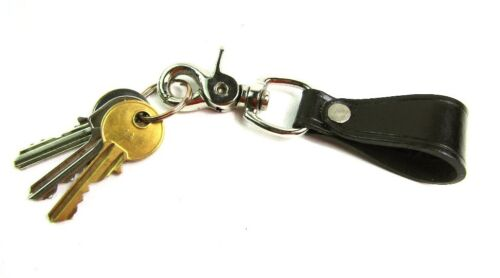 New Black Real Leather Belt Loop Key Holder Lobster Clasp Milano Security Strong