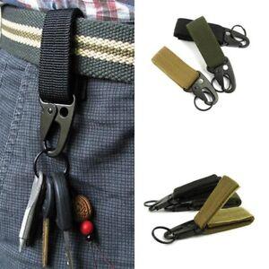 Military Belt Carabiner Tactical Key Webbing Buckle Strap Clip Khaki Outdoor