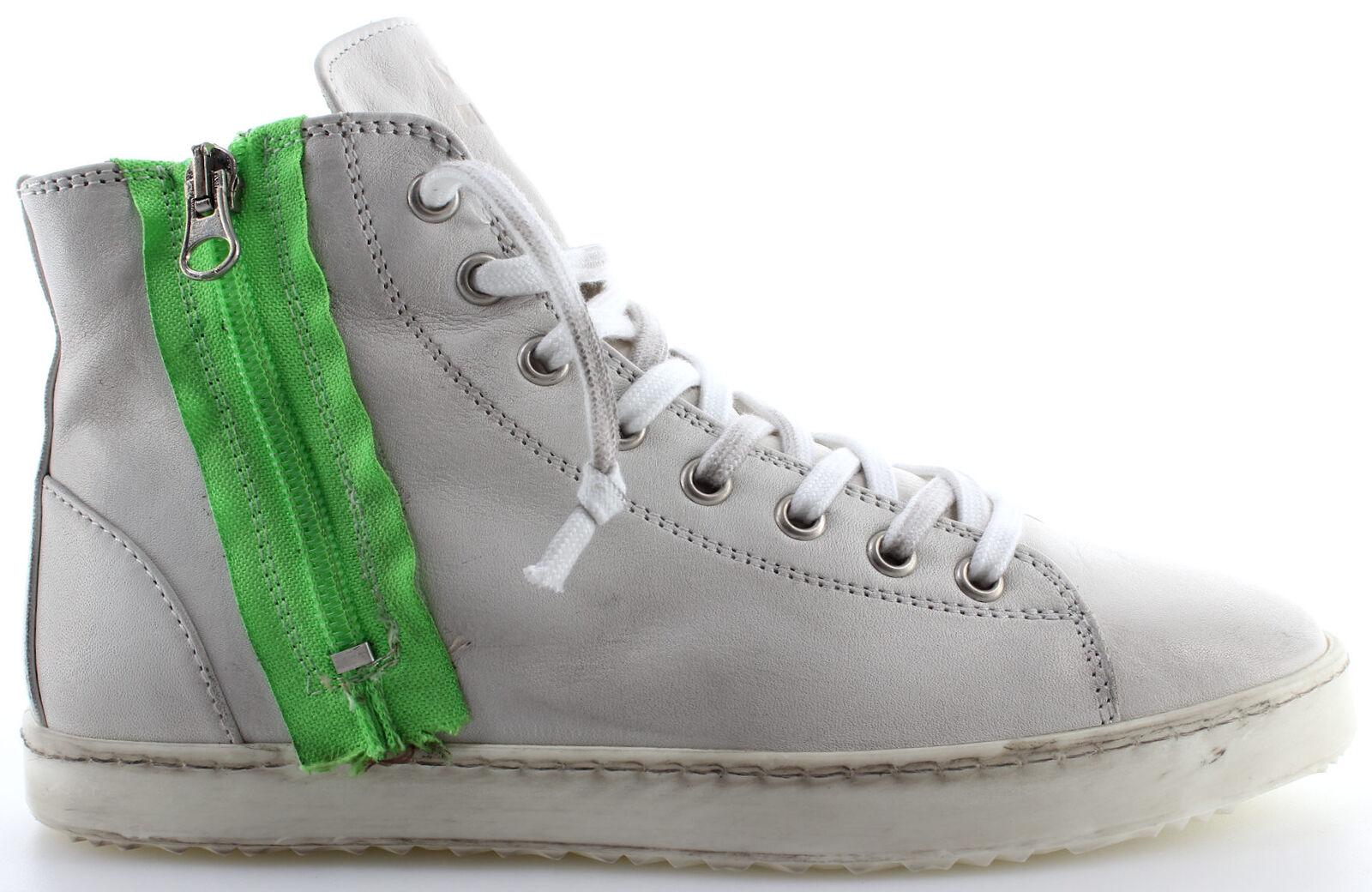 Damen Zip Schuhe Sneakers YAB Zip Damen Sauvage 1005 Verde Leder Weiss Vintage  Made  163030