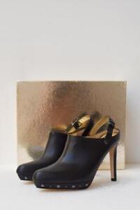 New-MIMCO-Phoenia-Black-Leather-Studded-High-Heel-Slingback-Mule-Boot-40-349