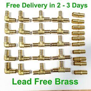30-1-2-034-PEX-Brass-Fitting-10-EA-Elbow-Coupler-Tee-LEAD-FREE-CRIMP-FITTINGS