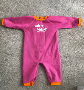 WATER BABIES ~ BABY GIRLS PINK WARM IN ONE POOL SWIM WETSUIT ~ 12-24 MONTHS