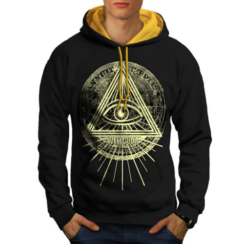 Wellcoda Triangle Triangle Mens Contrast Hoodie Eye Casual Jumper