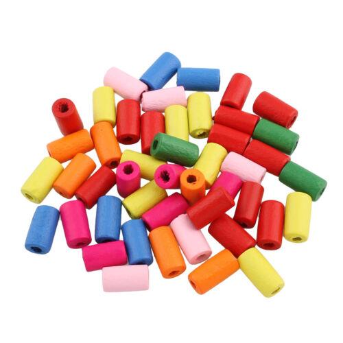 250 abalorios madera 12mm Tube multicolor Mix tubo joyas bricolaje perlas mezcla Best h54