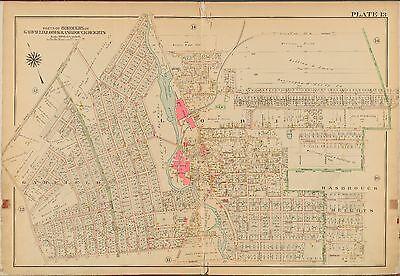 1913 MOONACHIE HASBROUCK HEIGHTS WOODBURY BERGEN COUNTY NEW JERSEY ATLAS MAP