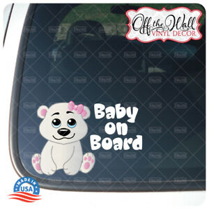"Baby Girl Polar Bear ""BABY ON BOARD"" Sign Vinyl Decal Sticker for Cars/Trucks"