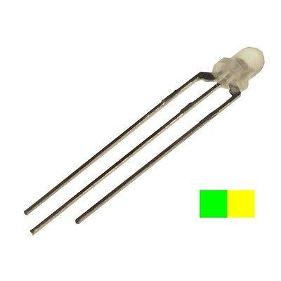 10 HuiYuan 3009Y1G3C-DSC DUO LEDs 3mm klar gelb-grün LED BI-COLOR 858891