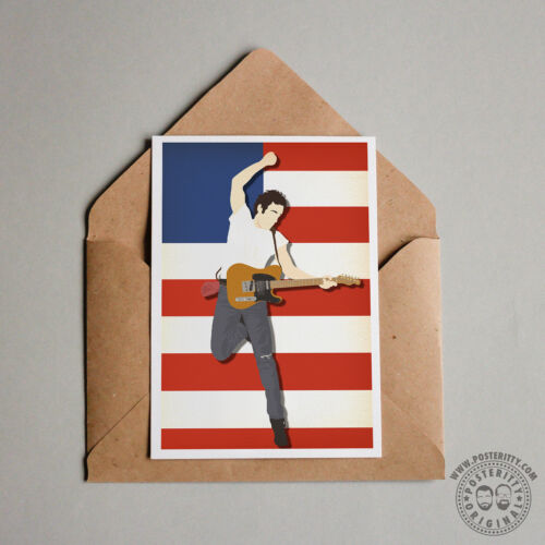 BRUCE SPRINGSTEEN Minimal Poster Print Card Posteritty Born in USA to Run Boss