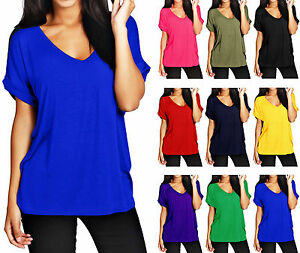 New-Womens-Baggy-Fit-Top-Ladies-Turn-Up-Loose-Short-Sleeve-Top-T-Shirt-Plus-Size