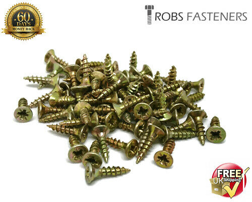 3.5mm WOOD CHIPBOARD SCREWS SINGLE THREAD POZIDRIVE MULTI PURPOSE COUNTERSUNK