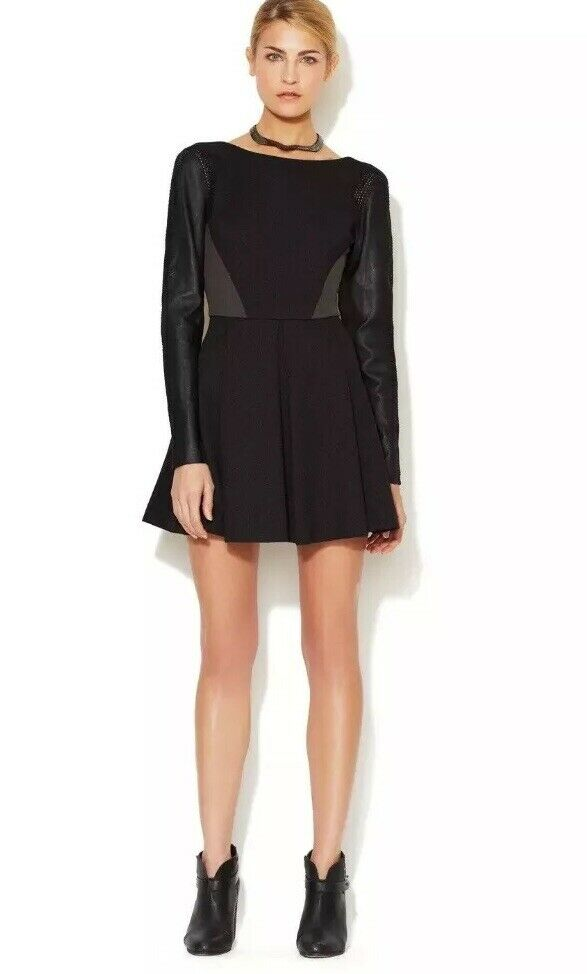359 Stella & Jamie Long Sleeve Dress Leather Crochet Knit Sleeves Size Small S