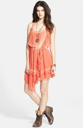 NWT Free People TYE DYE APHRODITE DRESS IN PIMIENTO orange Retail