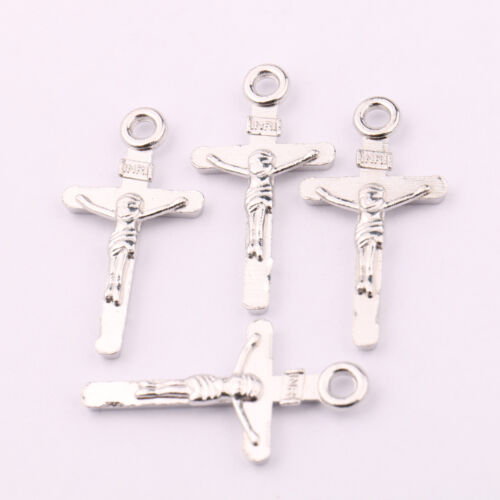 Lots 25//50Pcs Tibetan Silver Jesus Cross Charms Pendant Craft Jewelry Making DIY