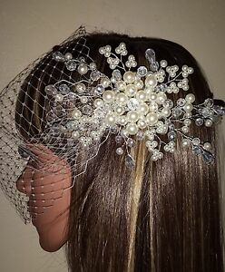 Brides-Ivory-9-034-birdcage-bandeau-wedding-veil-with-pearl-and-crystal-comb